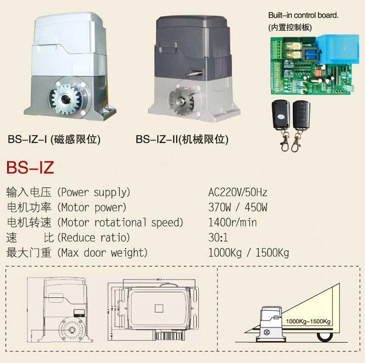 Motor cửa cổng lùa Baisheng BS-IZ-I-II
